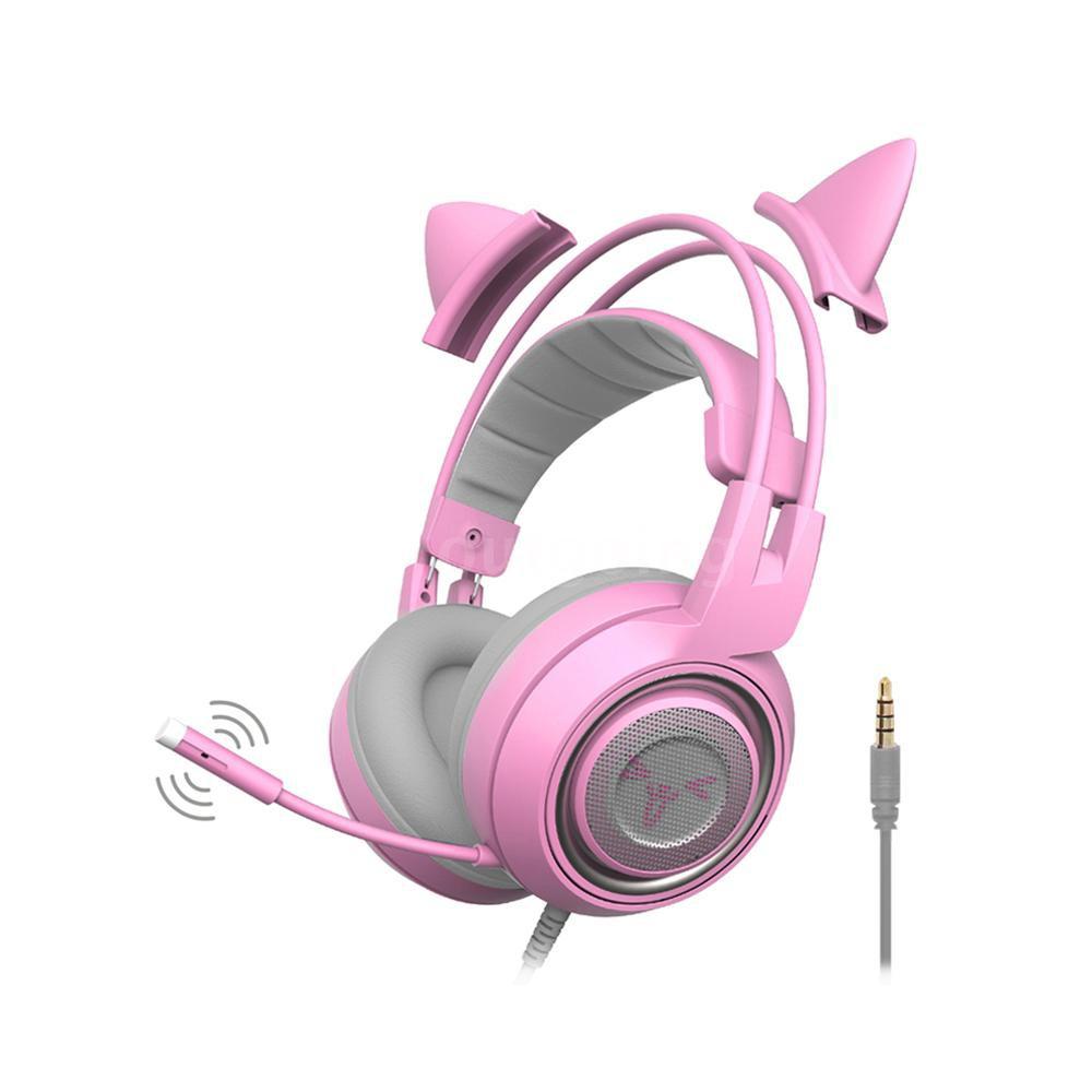 Beautiful Cat Ear Headphones Bluetooth Wireless Over Ear Headset Bluetooth 5.1+edr Headphone 3.5mm Led Lights Foldable Headphone With Mic Bluetooth Earphones & Headphones Consumer Electronics