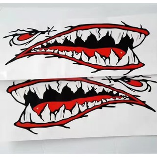 New Shark Teeth Mouth Kayak Boat Car Stickers Body Decals