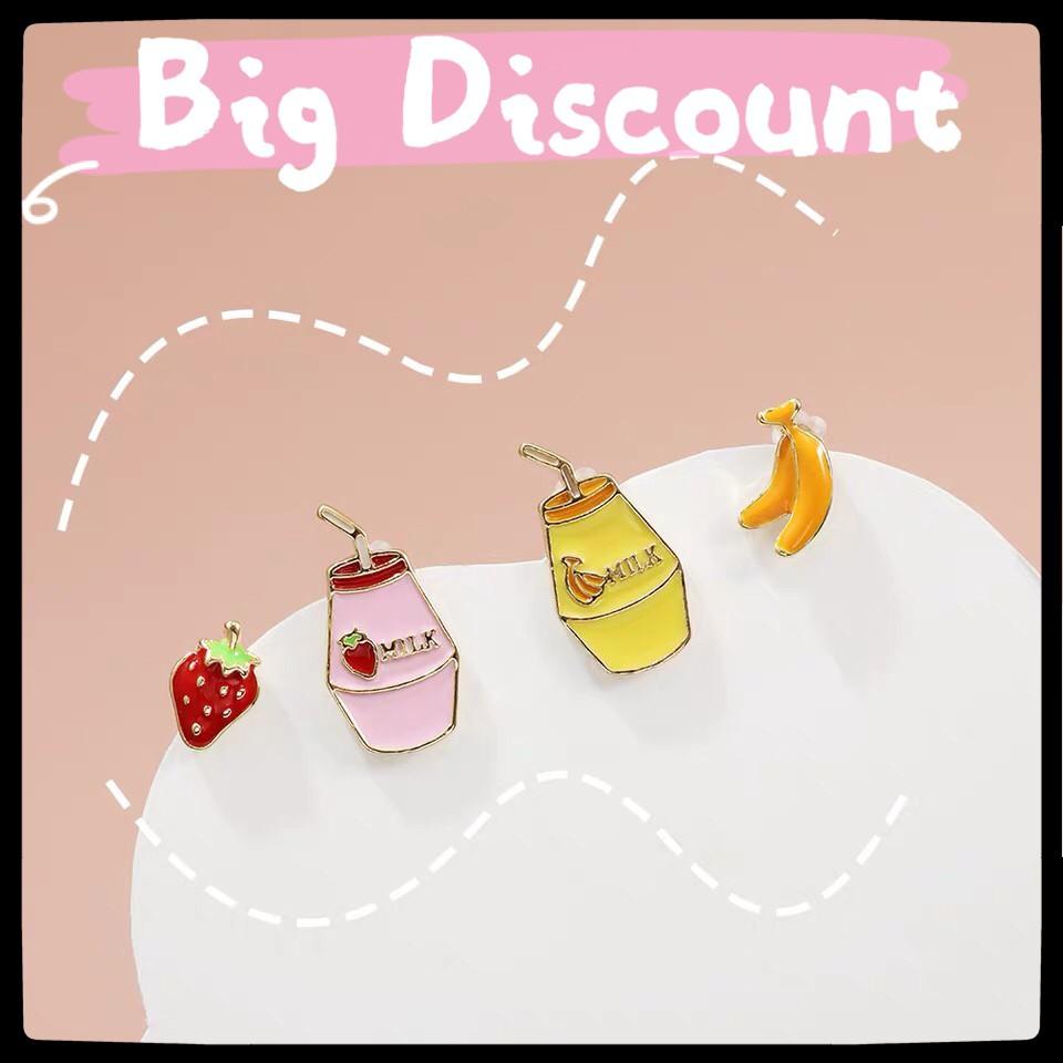 Dear Fafa Korean Earrings Cute Banana Milk Stud Earrings Strawberry Milk Earstuds Cute Fruit Earrings Shopee Singapore