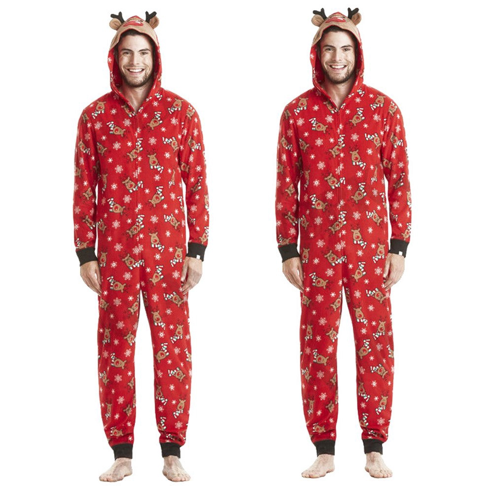 Home service Christmas parent-child wear Fashion hooded Christmas print jumpsuit