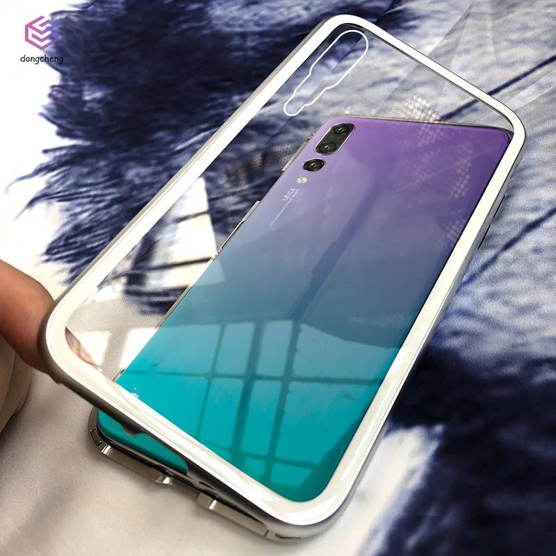 Magnetic Adsorption Metal Case Tempered Glass Back Cover for Huawei P20/P20  Pro
