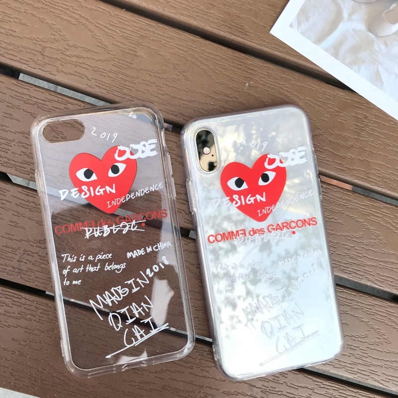 new concept 69277 49535 Love CDG Play Comme des Garcons Transparent soft cover case for iphone6p 7p  8 8p