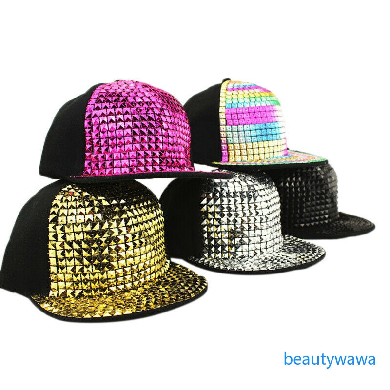 Boys Girls Hip-Hop Adjustable Rivet Sequins Flat Hat Kids Baseball Cap Snapback