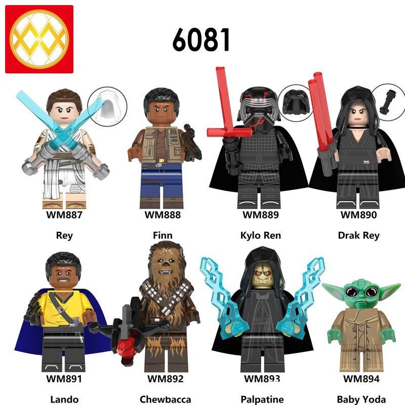 Star Wars Minifigures Movie The Rise Of Skywalker Rey Kylo Ren Chewbacca Yoda Wm6081 Lego Toys Shopee Singapore