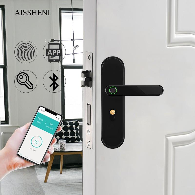 Aissheni As K2 Indoor Fingerprint Smart Lock App Wooden Door Home Room Door Smart Intelligent Electronic Door Lock Shopee Singapore