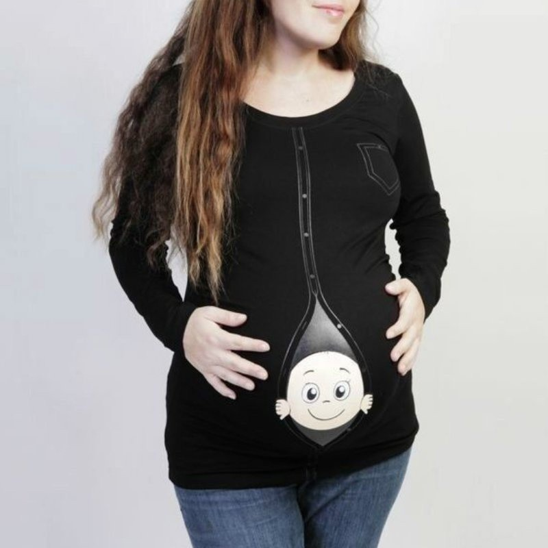 Maternity Baby Girl Peeking Shirt Funny Pregnancy Cute Announcement Pregnant T