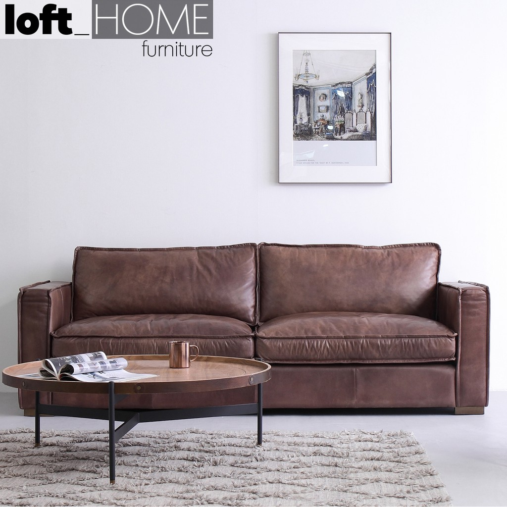 Full Genuine Leather Sofa Brown Whisky