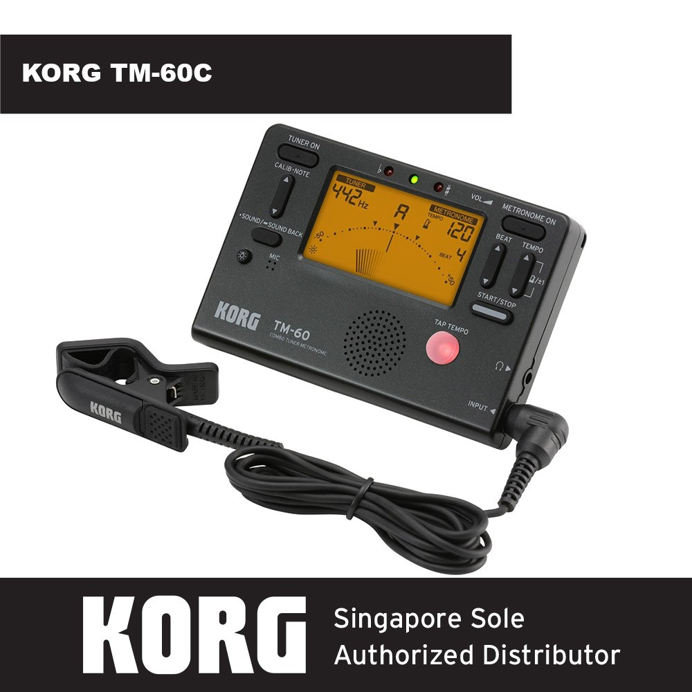 Korg TM-60C Combo Tuner Metronome /& Clip on Contact Microphone Black