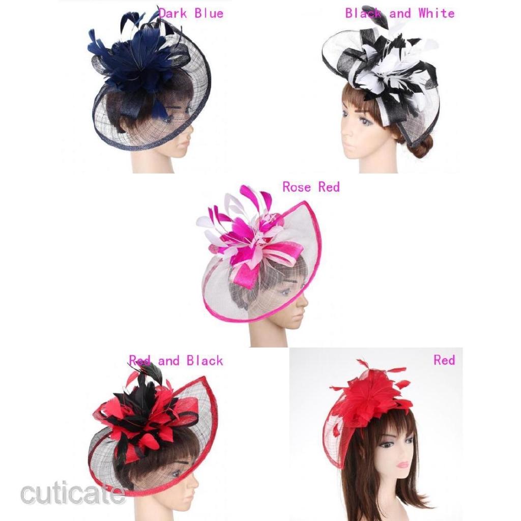 Women/'s Wedding Feather Fascinator Headband Derby Hat 1920s Gatsby Headpiece
