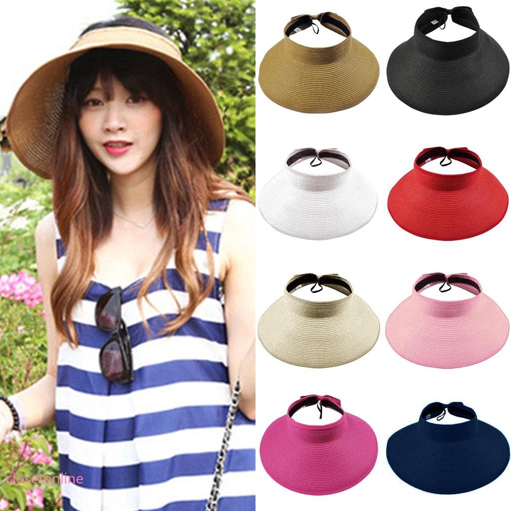 f370b821388c0 Women Summer Foldable Roll Up Hat Swimming Beach Outdoor Cap Wide Brim Straw