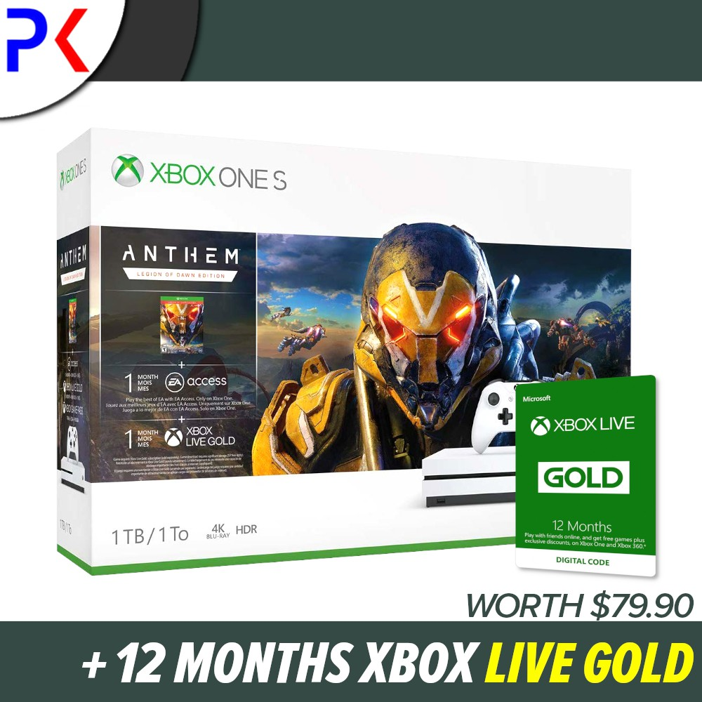 Xbox One S 1TB (ASIA) Console Bundles + 12 Months Xbox Live Gold