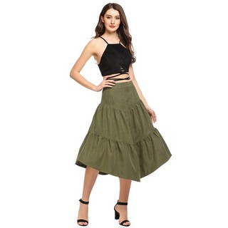 ac812e7eb Women Solid Casual Loose Fit Long Maxi Tiered Skirt | Shopee Singapore