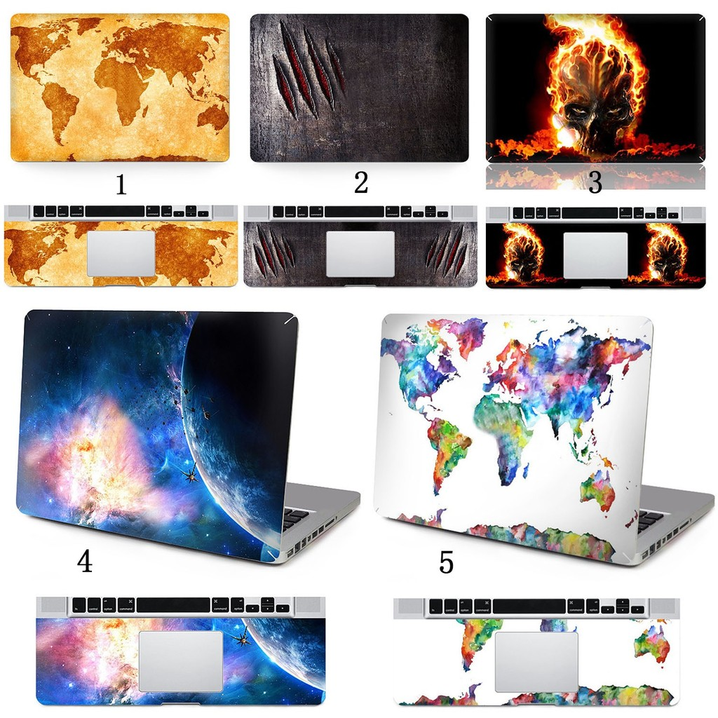 PVC Full Surface Skin Palm Rest Cover Sticker Case Set for Apple MacBook Air
