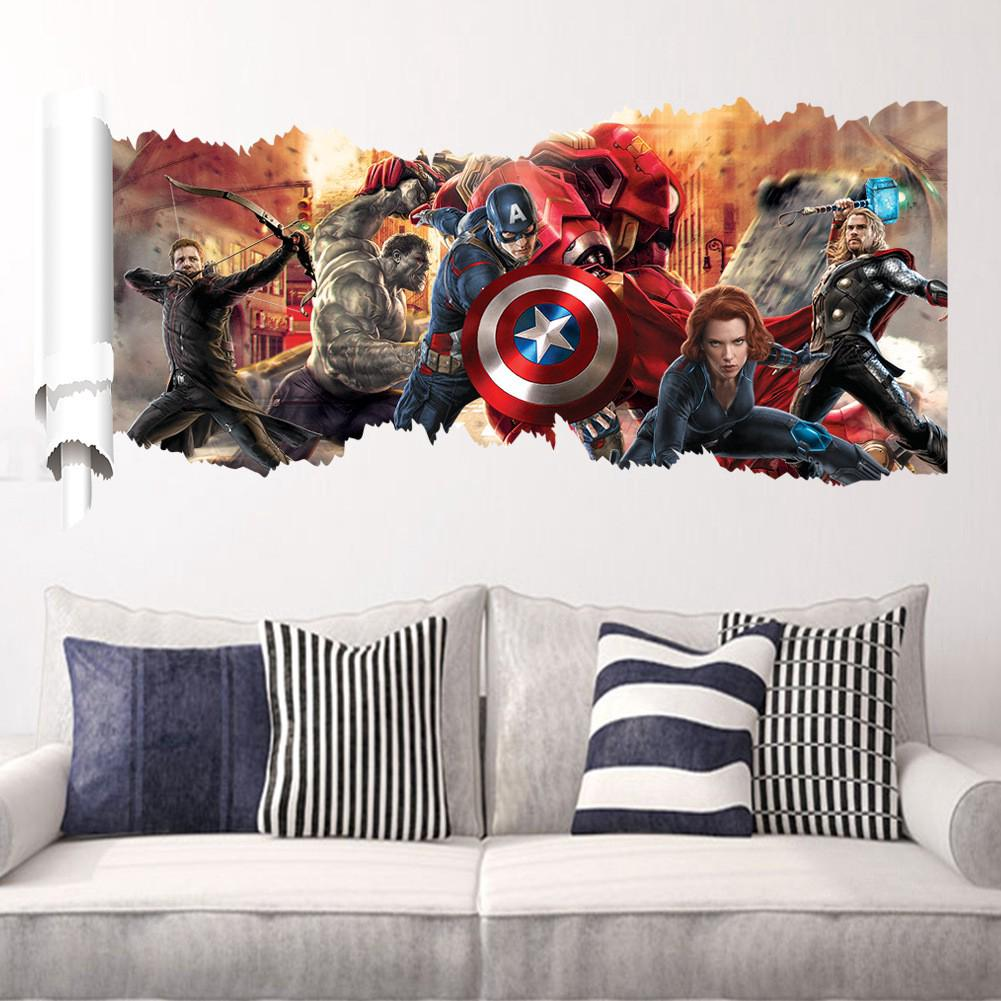 3d Marvel S The Avengers Wall Sticker Decals For Kids Room Home Decor Wallpaper