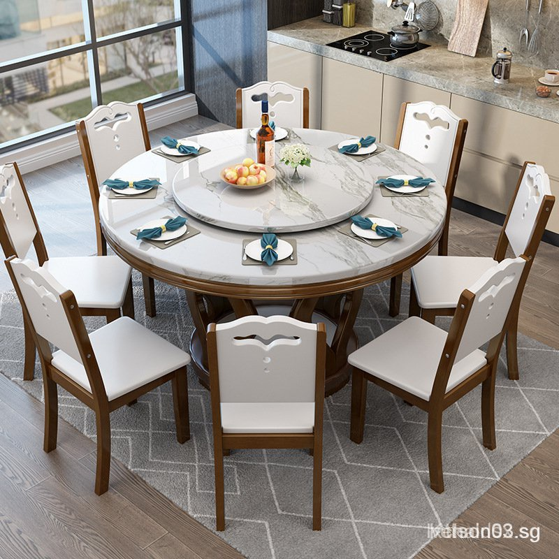 Marble Dining Table Round With, Round Dining Room Table And Chairs
