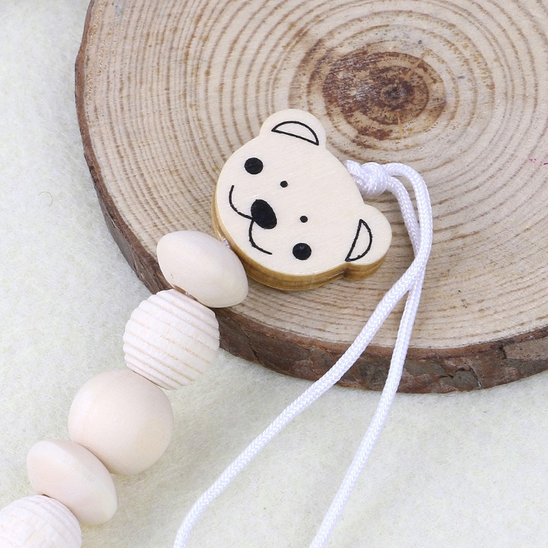 Natural Wood Pacifier Clip Nipple Saliva Towel Holder Soother Animal Dummy Clamp