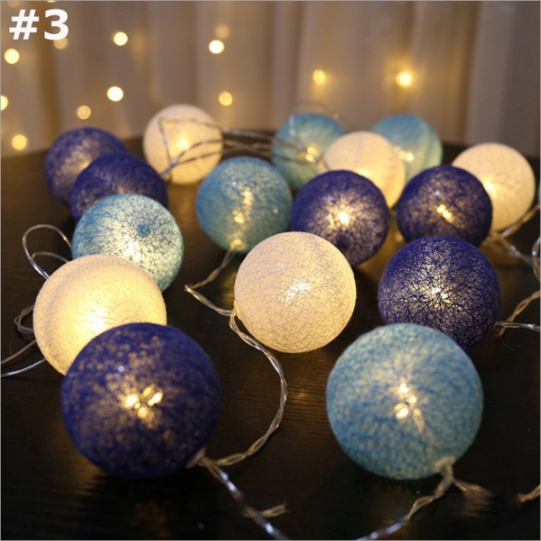 COTTON BALL STRING FAIRY LIGHTS HOME DECOR WEDDING PARTY PATIO SPA CHRISTMAS