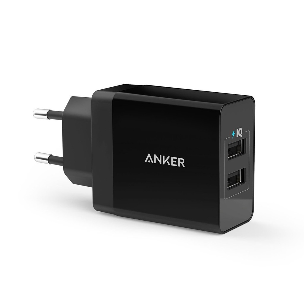 Anker 24w 2 Port Usb Charger Mh Shopee Singapore Samsung Galaxy A8 Star Free Powerport Black
