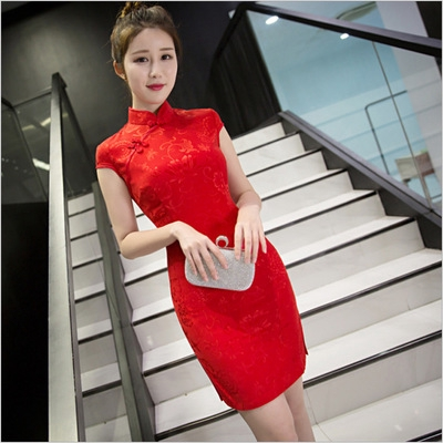 Short Sleeve Modern Adapted Chinese Cheongsam Qipao Dress Red in Floral Print