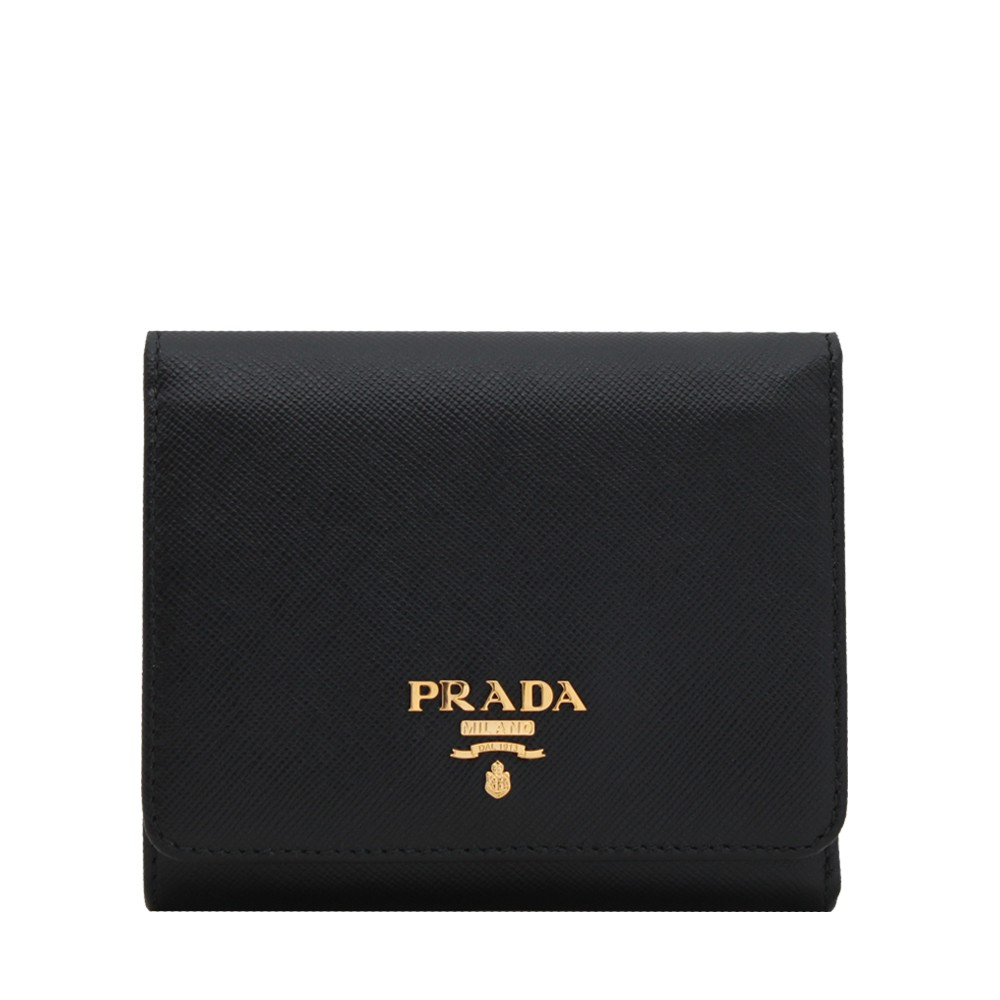 4b09b104bf86 Prada 1MH176 Saffiano Leather Short Trifold Clasp Wallet | Shopee Singapore
