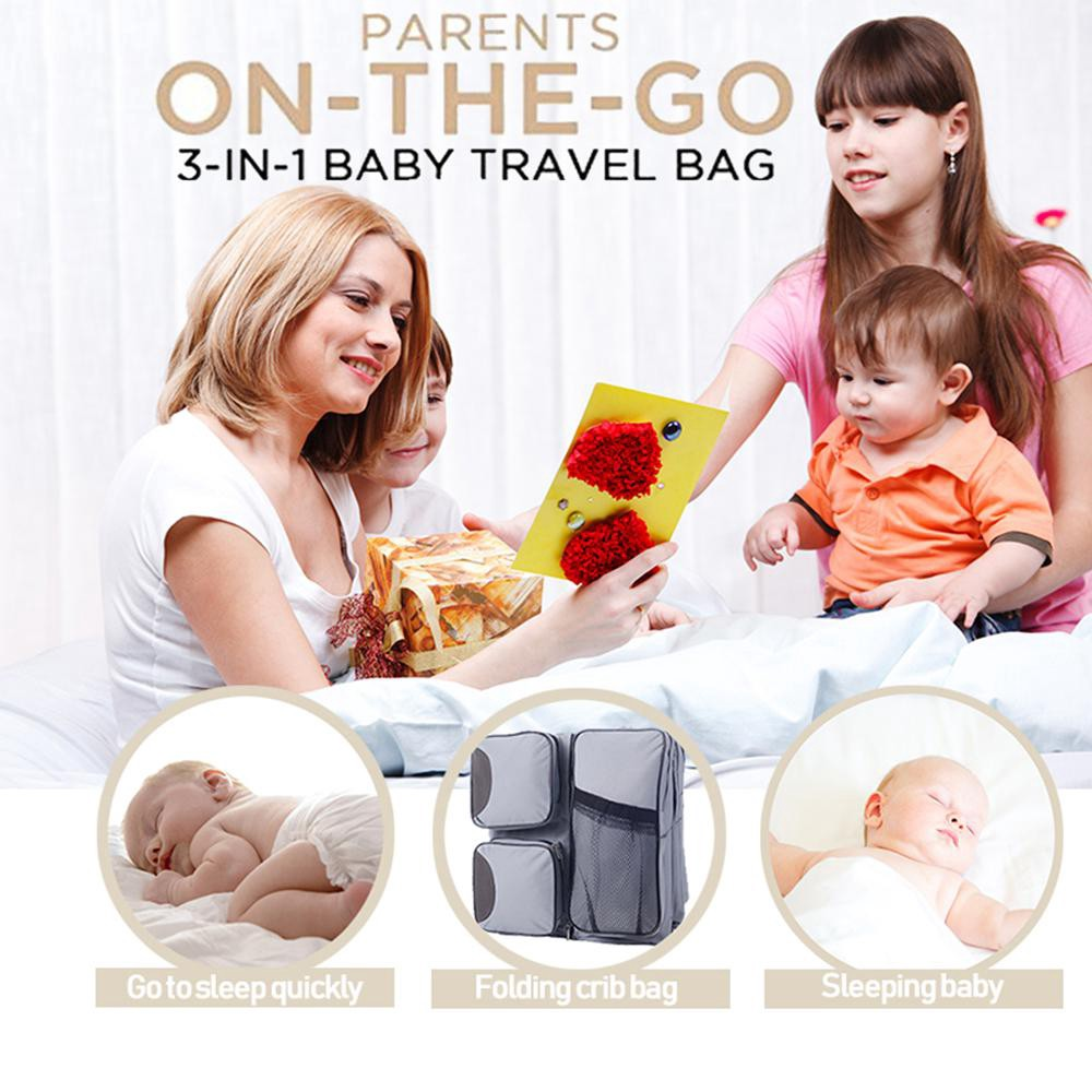 Baby Bassinet Portable Travel Crib Portable Handbag with Mat and Pillow Foldable Bed Multi-Functional Carry Cot for 0-12 Months,Beige