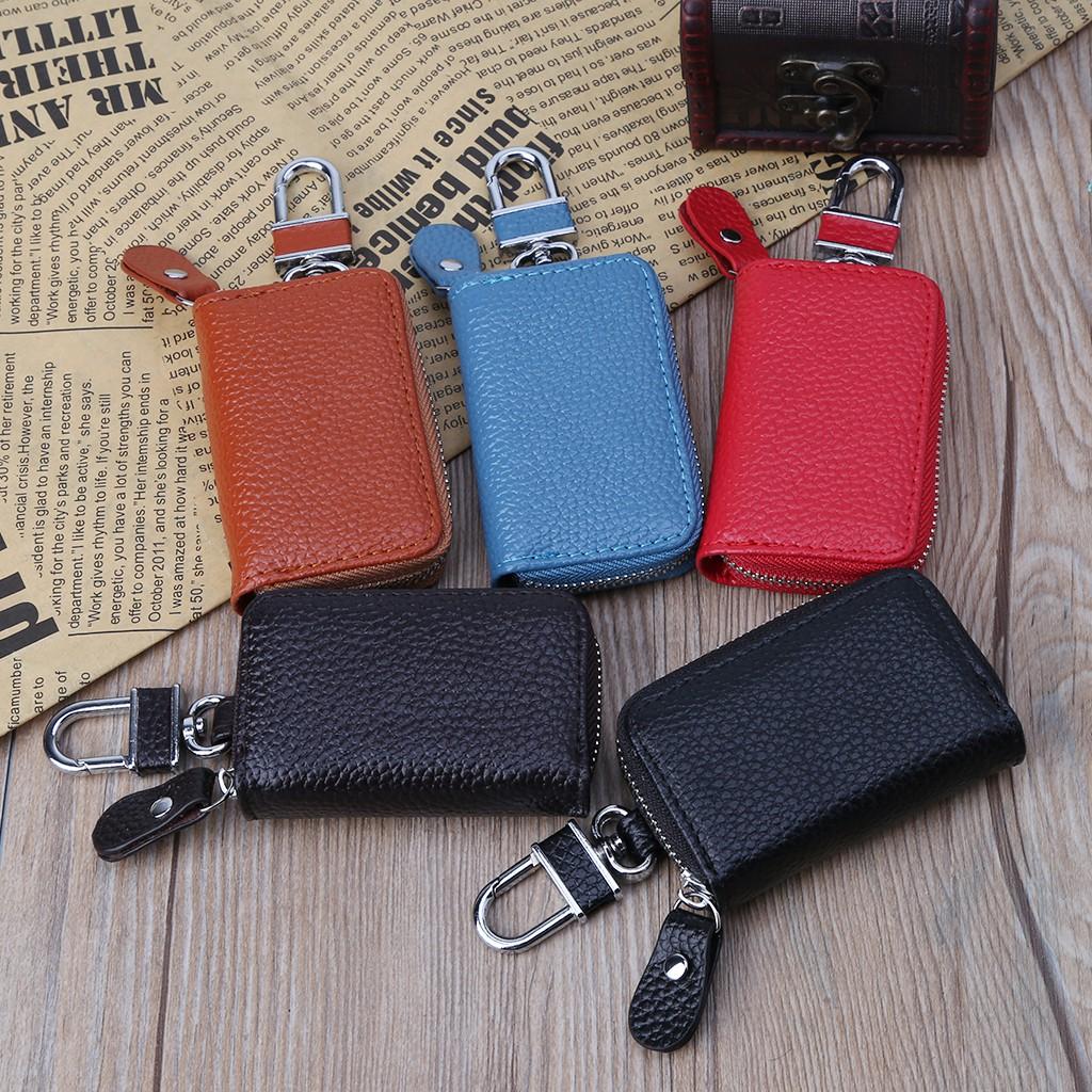Men Women PU Leather Car Key Holder KeyChain Wallet Case Pouch Purse Key Bag Y