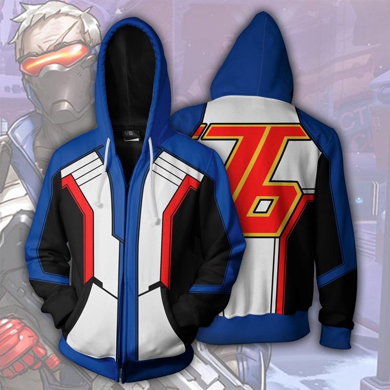 207d02130 Game Overwatch Soldier 76 Cosplay 3D Zipped Hoodies Joggers Coat ...