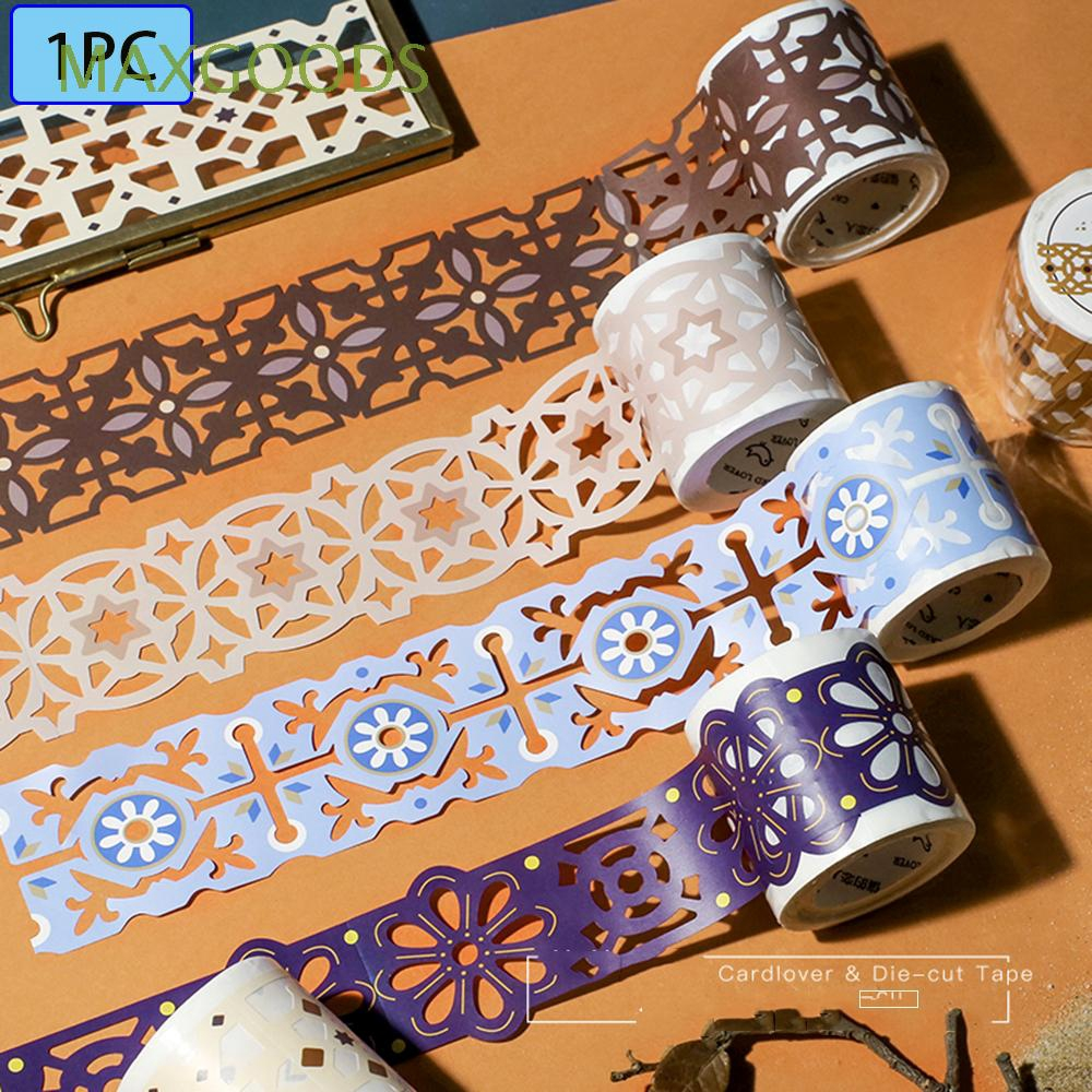 MAXGOODS Washi Tape 7 Rolls Tape Color random Holiday DIY Lace Pattern Glitter Bling Self-adhesive Tape Masking DIY Scrapbooking Lace Tape Sticker for Gift Wrapping Decoration Scrapbooking Party