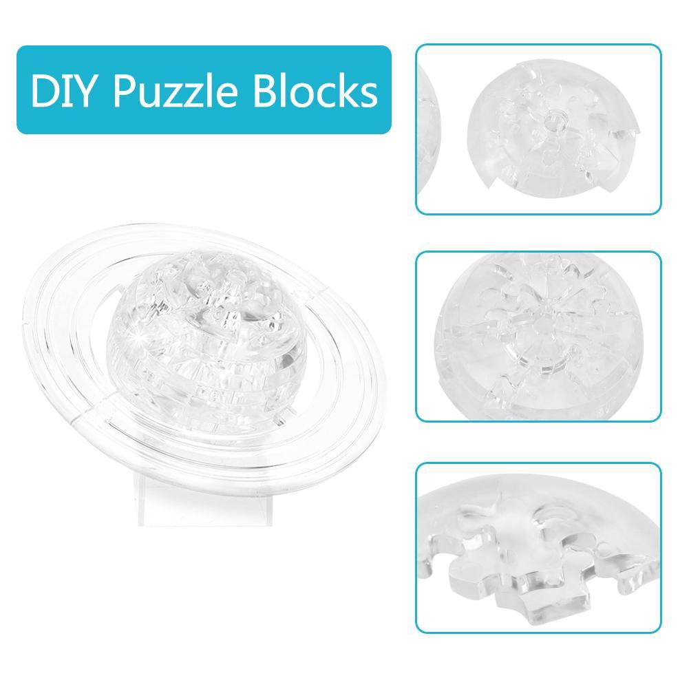 Transparent Saturn-Shaped 3D Crystal Puzzle Jigsaw DIY Translucent Blocks Plastic Puzzle Gifts for Adult Children Kids