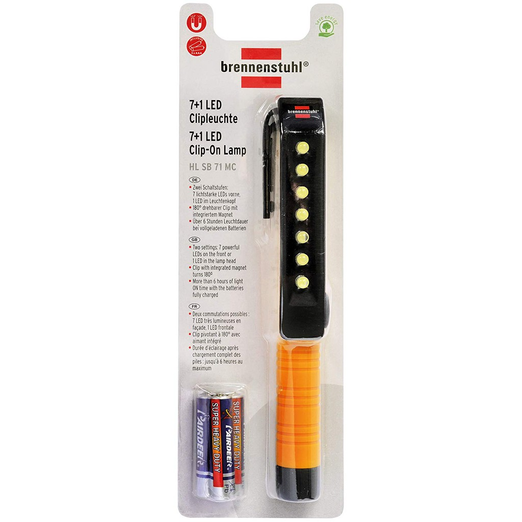 Brennenstuhl 1175990 7 1 LED Inspection Light Penlight with clip and magnet on the clip
