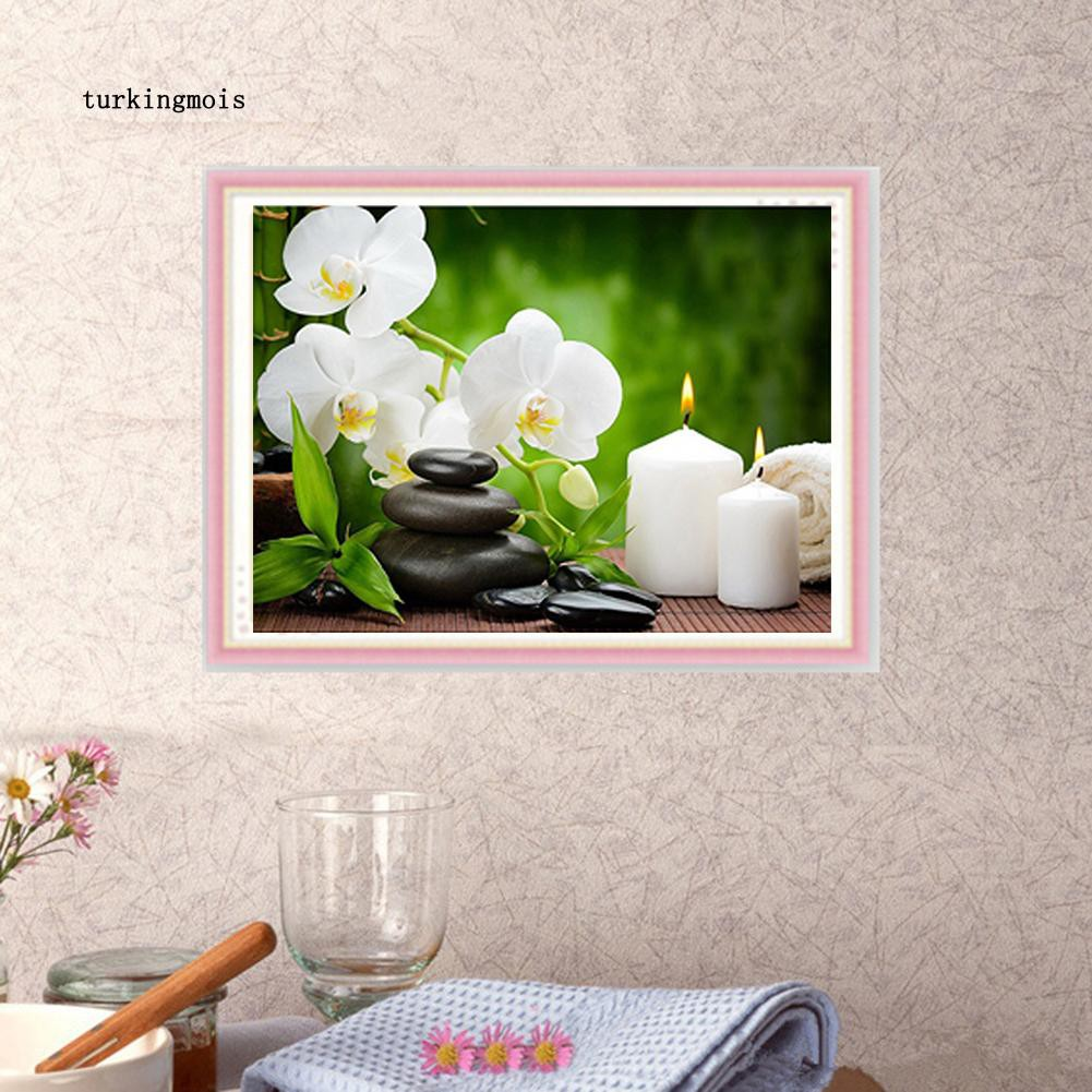 Popular DIY Orchid Candle Stone Diamond Painting Home Decoration Cross Stitch EG
