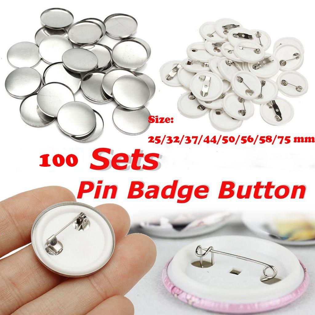 Ready Stock 100Sets Blank Button Badge Pin Parts for DIY