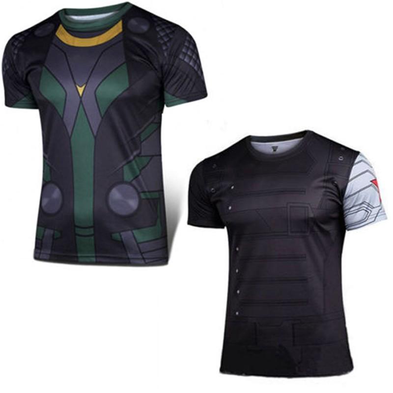 Men Short Sleeve T-shirt Marvel DC Comics Cycling Captain America Superhero  Tops  8ee789a71
