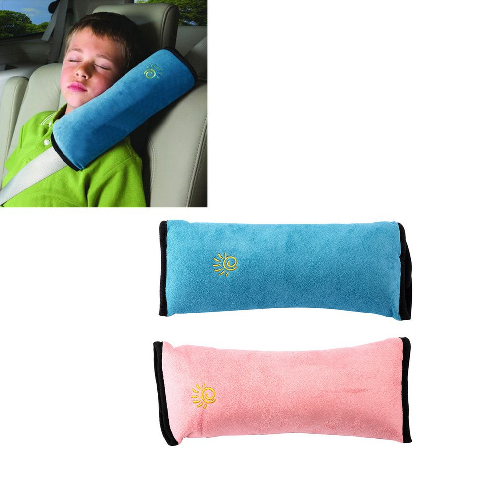 Seat Belt Cover Padded Shoulder Strap Comfort Pads Pink Shoulder Covers Set of 2 for Sleep Toddler Seatbelt Neck Support Pad with 1 Pink Towel
