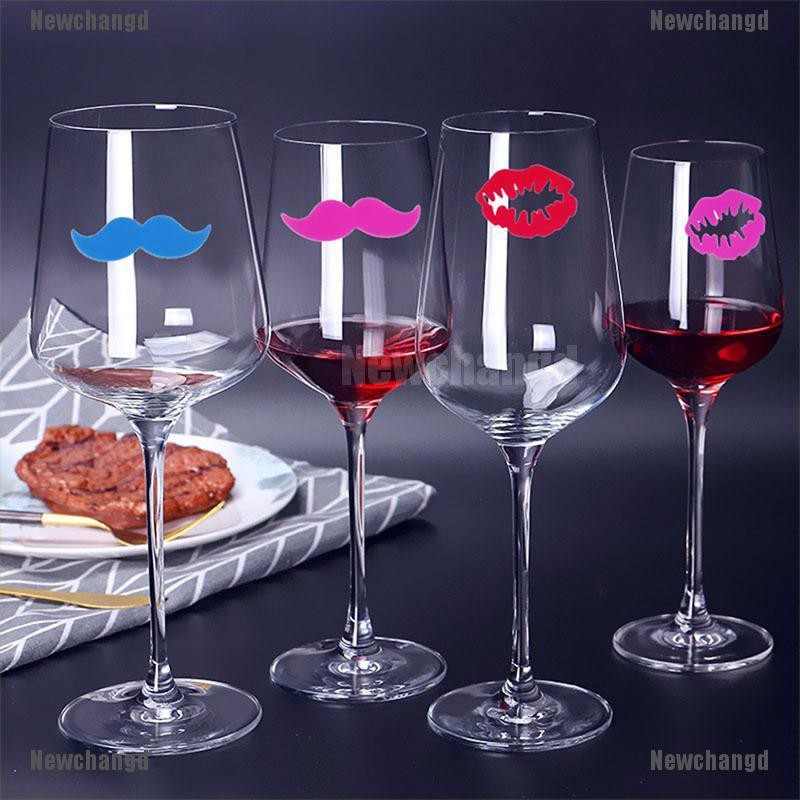 6 Colors and Patterns Mix Practical 12pcs Silicone Wine Glass Sticker Mustache Markers Wine Identifier Drinking Cup Sign