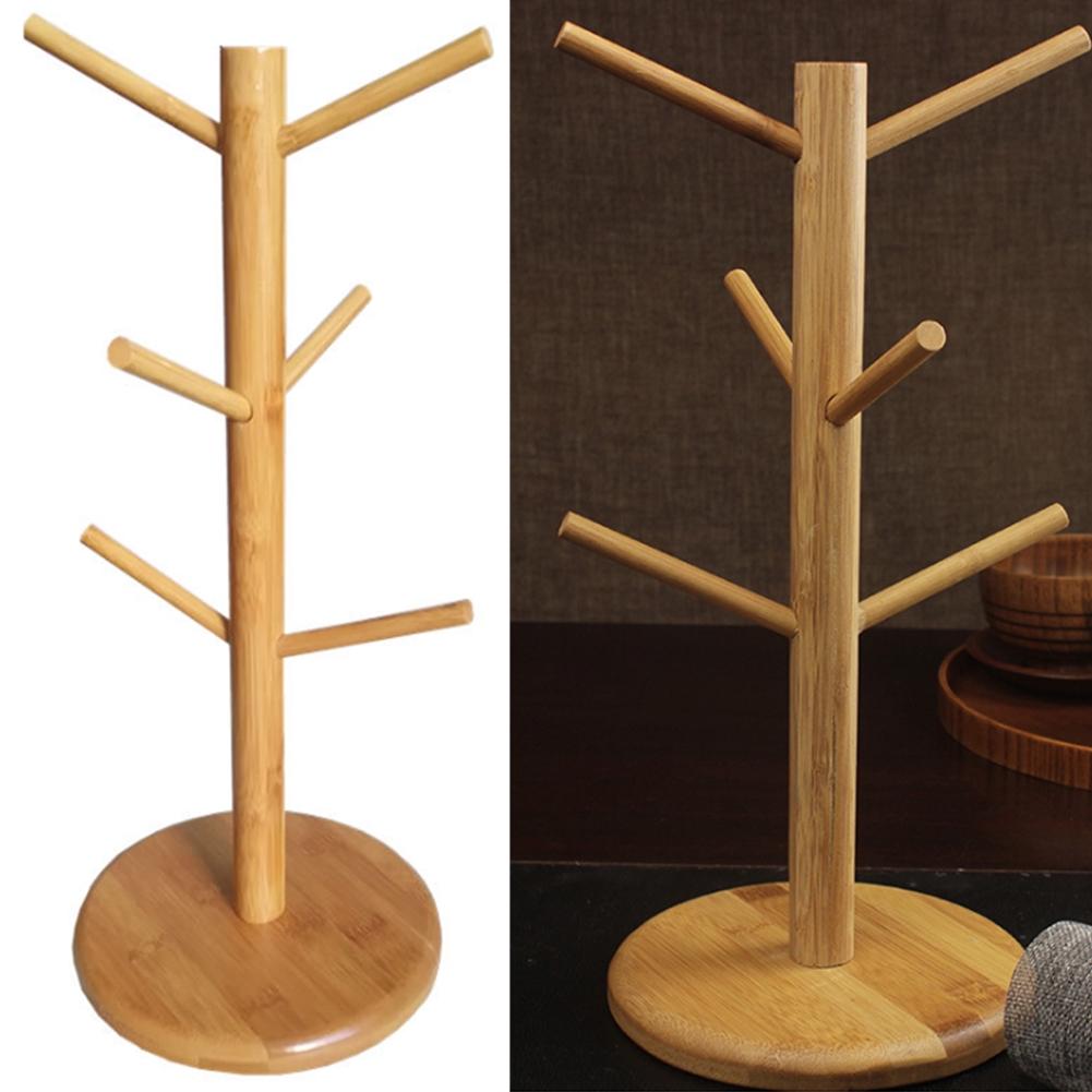 Rack Bamboo Mug Tree Stand For 6 Coffee