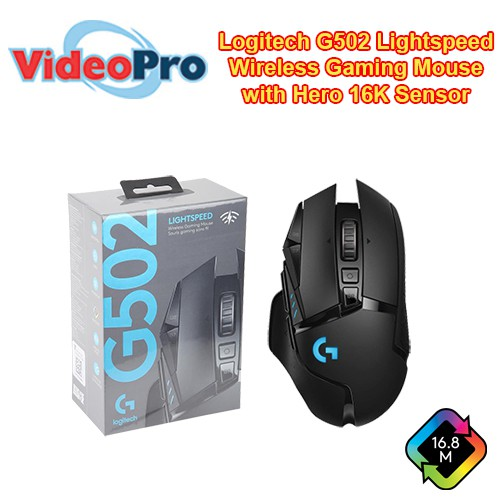 Logitech G502 Lightspeed Wireless Gaming Mouse with Hero 16K Sensor,  PowerPlay Compatible, Tunable Weights and Lightsync