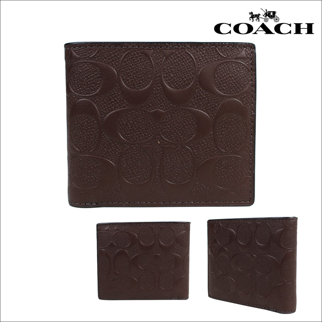 570a7407d2c2 Coach Compact ID Wallet In Signature Crossgrain Leather (F75371 ...