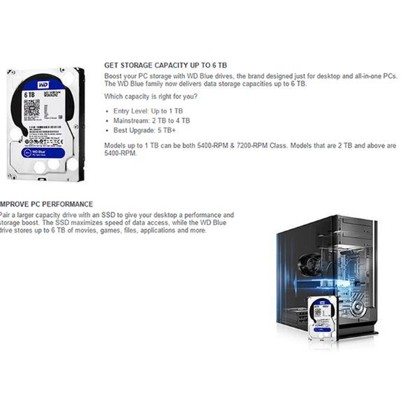 WD Blue 3TB 3 5-inch Desktop Hard Disk Drive 5400 RPM SATA 6 Gb/s 64MB