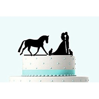 Bride And Groom Kissing Topper For Cake With Dog Horse For