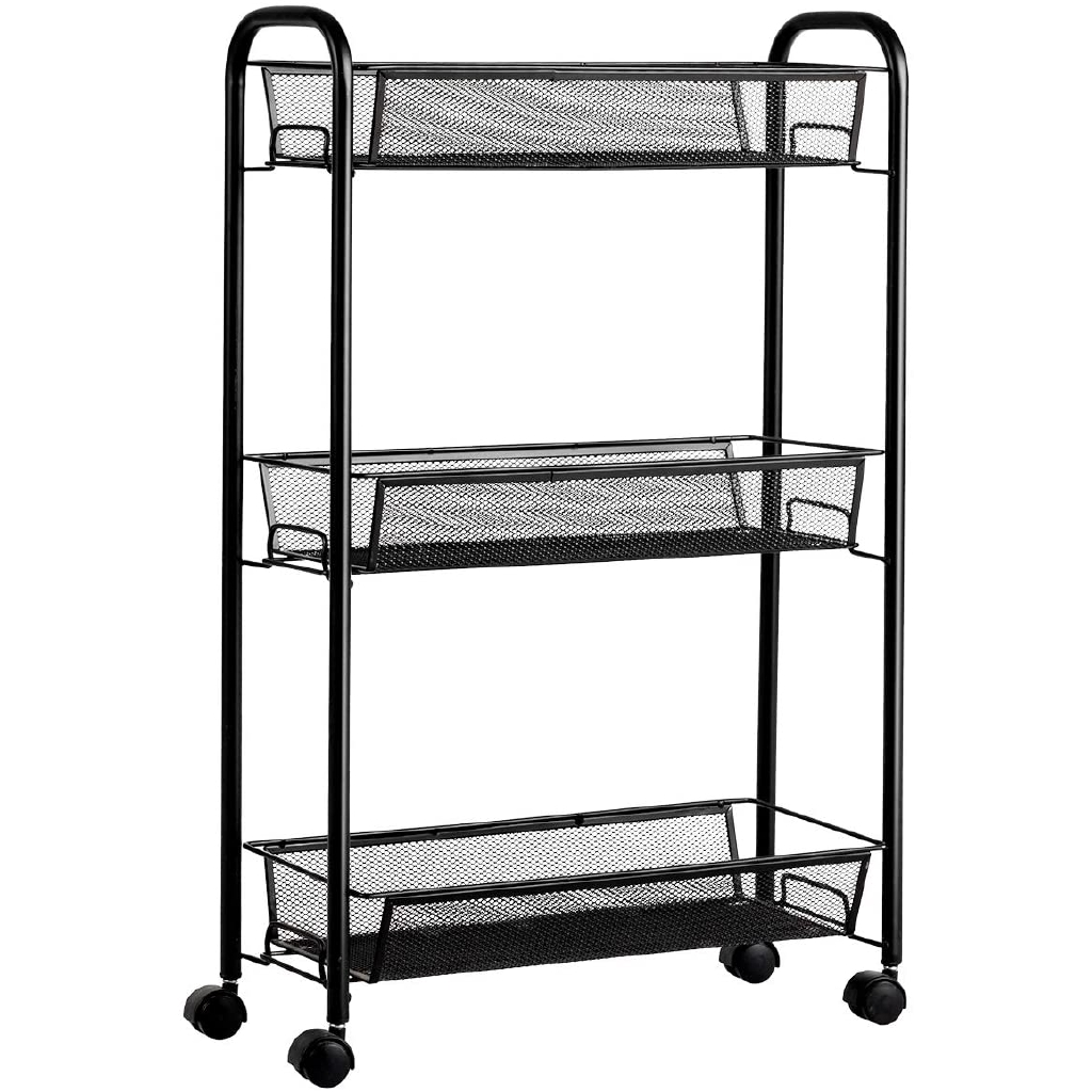 3 Tier Mesh Rolling Cart On Wheels