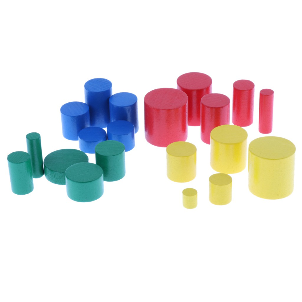 Family Set HOT GIFT Beechwood MINI Cylinder Blocks Montessori Sensorial