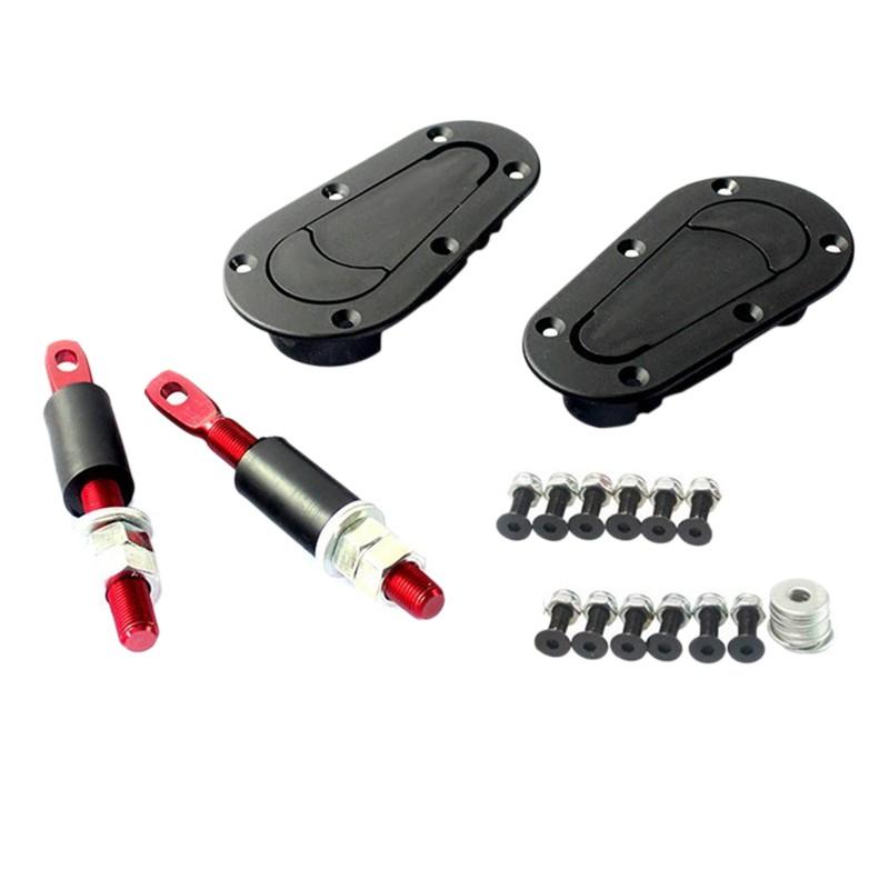 Universal Racing Car Bonnet Plus Flush Mount Hood Latch Pin Key Locking Kit