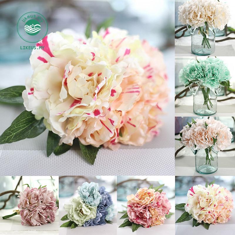 Simulation Diy Blue Peony Bouquet Artificial Flowers Wedding Bridal Home Decor Shopee Singapore