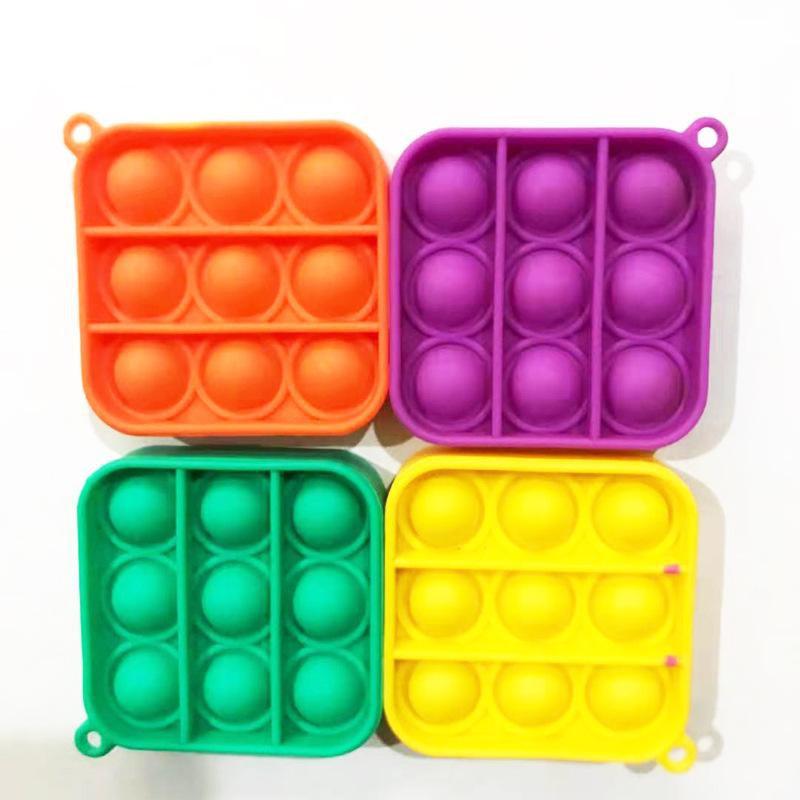 Mini Pop Its Keychain Simple Dimple Fat Brain Toy Sensory Fidget Key Chain Stress Relief Montessori Keyring Toys Gardenn