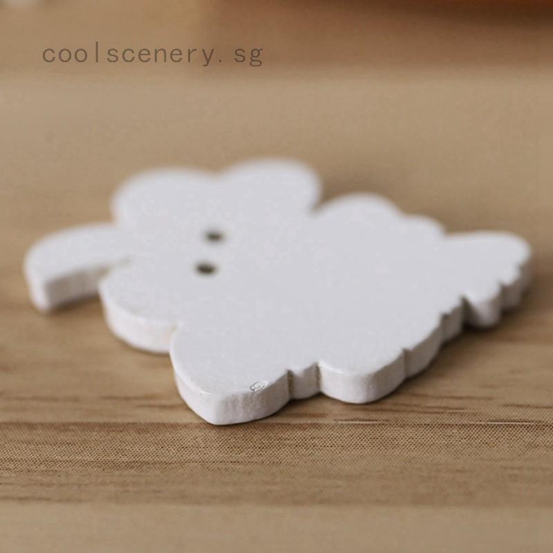 Prettyia 100pcs Rectangle Wooden 2 Holes Handmade Tags Embellishments 30mm