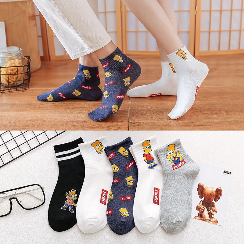 1 Pair Unisex Cotton Socks Middle-length Breathable Tube Sock Happy Stripe Socks
