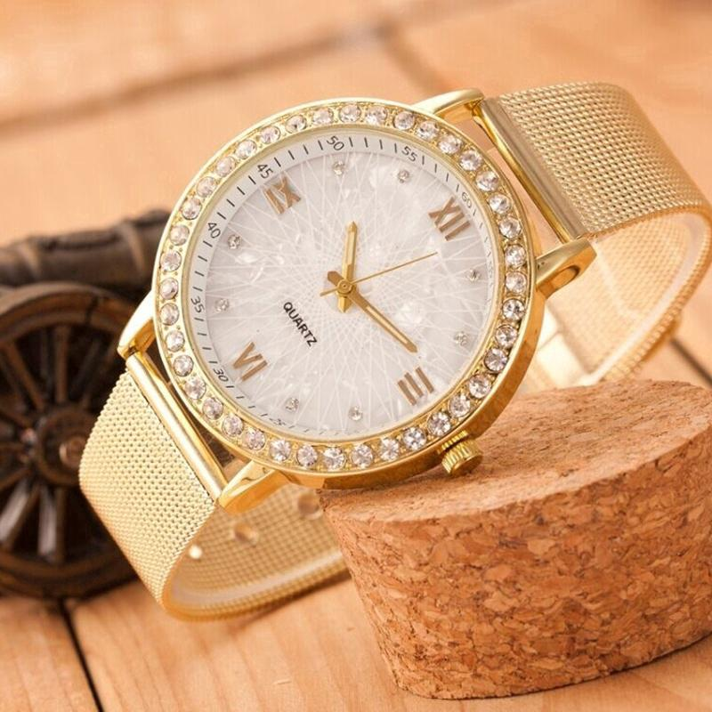 442c4a11144 Elegant Crystal Roman Numerals Golden Plated Metal Mesh Band Wrist Watch