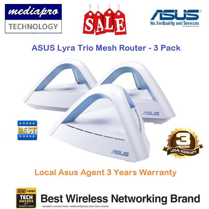 ASUS Lyra Trio 3-Pack Mesh WiFi System AC1750 ( MAP-AC1750-10 ) - 3 Years  Local Asus Agent Warranty - MAP-AC1750