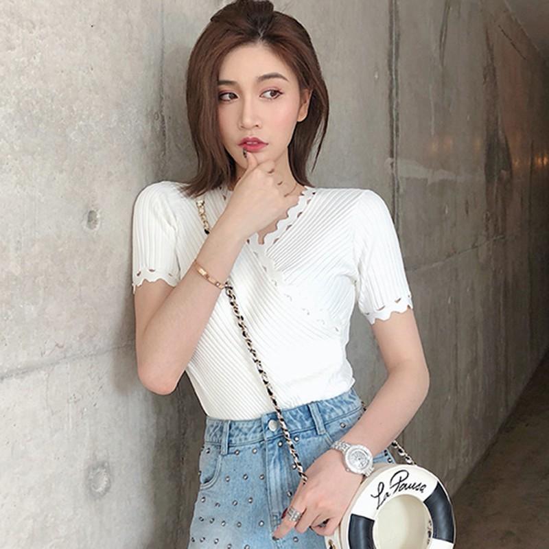 Women Korea Fashion Elegant Long Sleeve Sweater Pullover